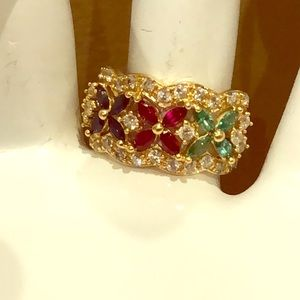 14K Gold vintage ring w/ colored flowers